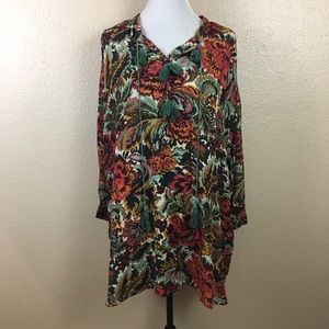 Esley floral tunic top sz S